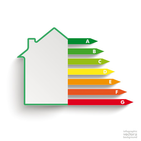 House with energy pass on the white background. Eps 10 vector file. Illustration