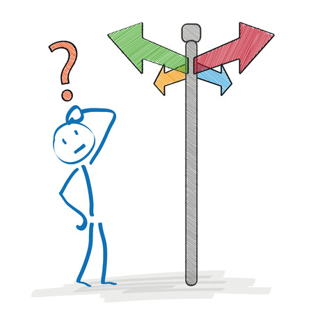 question marks: Stickman on the crossroads on the white background. Eps 10 vector file.