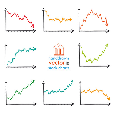bourse: Handdrawn stock charts on the white background. Eps 10 vector file. Illustration