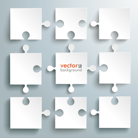 Paper puzzles on the grey background. Eps 10 vector file.