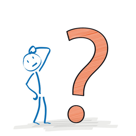 Stickman with big question on the white background. Eps 10 vector file. Vettoriali