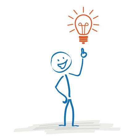 bonhomme allumette: Stickman avec une ampoule sur le fond blanc. Eps 10 fichier vectoriel. Illustration