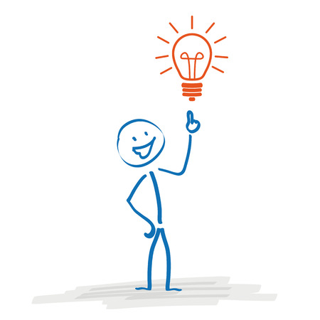 Stickman with bulb on the white background. Eps 10 vector file.
