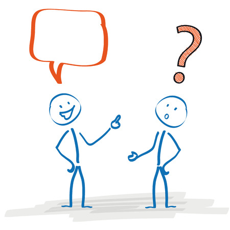 asking: Stickmen with speech bubble and question mark on the white background. Eps 10 vector file.