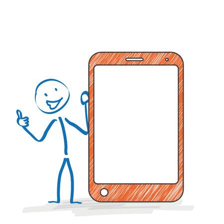 bonhomme allumette: Stickman avec un smartphone sur le fond blanc. Eps 10 fichier vectoriel.
