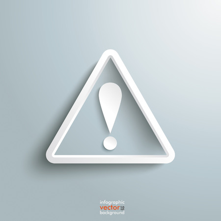 exclamation mark: White triangle with exclamation mark on the grey background. Eps 10 vector file. Illustration