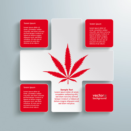 analgesics: White plus symbol with cannabis leave on the grey background. Eps 10 vector file. Illustration