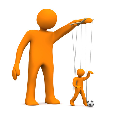 Orange cartoon character with marionette with football, on the white background. photo