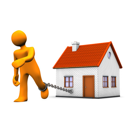 Orange cartoon character with iron chain and house. White background.
