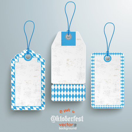 Bavarian sale stickers on the grey background. German text O�zapft is and Oktoberfest, translate on tap and Oktoberfest. Vector