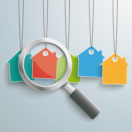 loupe: Colored house price stickers with loupe on the grey background.