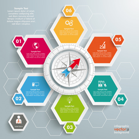 six web website: Infographic with honeycomb structure on the grey background.