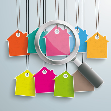 Colored house price stickers with loupe on the grey background.