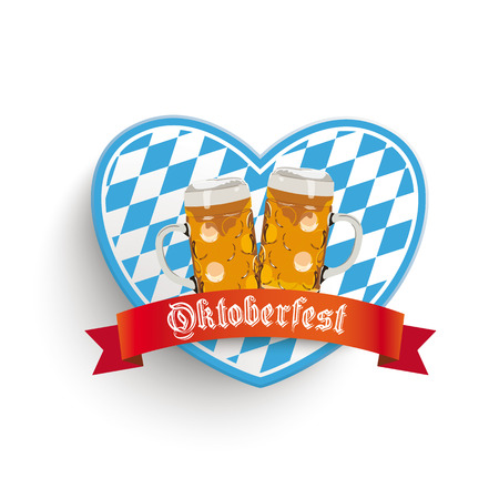 Heart in bavarian colors with beer jugs on the white background. Vector
