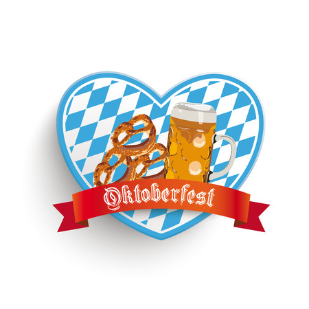 glas: Heart in bavarian colors with beer and pretzels on the white background. Eps 10 vector file.