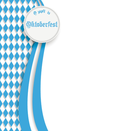 blue curtain: Oktoberfest design on the white background. German text O�zapft is and Oktoberfest, translate on tap and Oktoberfest.  Illustration