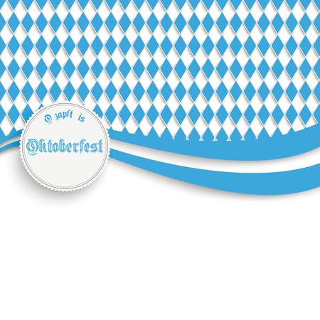 lozenge: Oktoberfest design on the white background. German text O´zapft is and Oktoberfest, translate on tap and Oktoberfest.