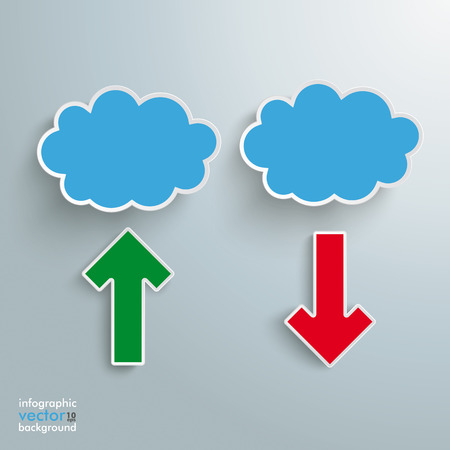 Blue clouds with 2 arrows on the grey background. Vector