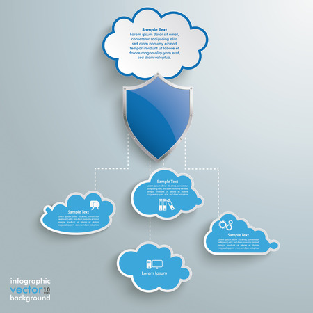 blue clouds: Blue clouds with protection shield on the grey background.