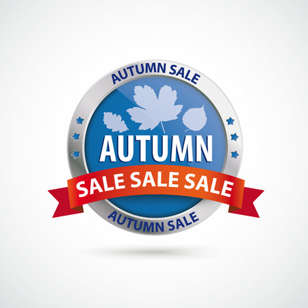onlineshop: Infographic with protection shield and text Autumn Sale on the white background.  Illustration