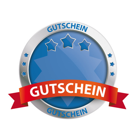 chit: Infographic with protection shield on the white background.German text gutschein, translate gift coupon.