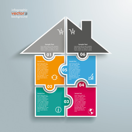 Infographic with rectangle puzzle pieces on the grey background.  Illustration