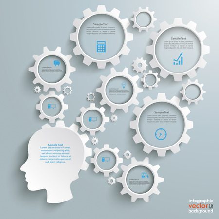 Head with gears on the grey background.  Illustration