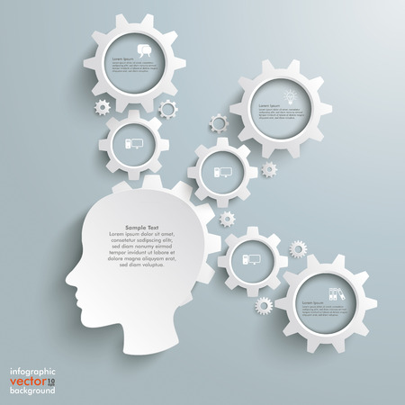 cfo: Head with gears on the grey background.  Illustration