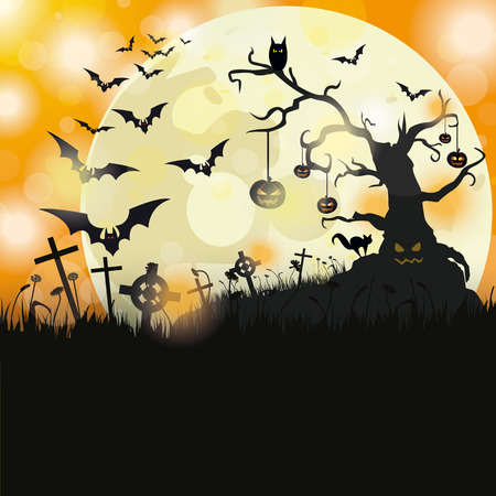 Halloween flyer design with big moon.  Vector