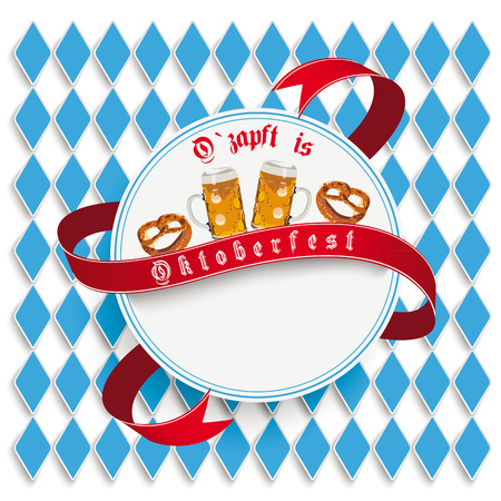 lozenge: Oktoberfest design on the white background. German text O´zapft is and Oktoberfest, translate on tap and Oktoberfest. Eps 10 vector file.