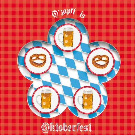 bretzel: Flyer design with bavarian national colors on the white background.