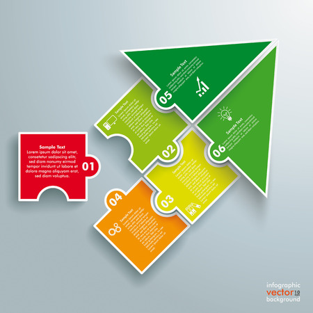 Infographic with colored puzzle pieces on the grey background.
