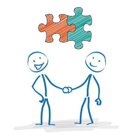 Stickman with puzzle pieces and handshake on the white background.