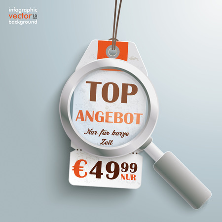ten empty: Sale sticker with loupe on the grey background. German text Top Angebot and Nur für kurze Zeit, translate Best Offer and limited time only.  Illustration