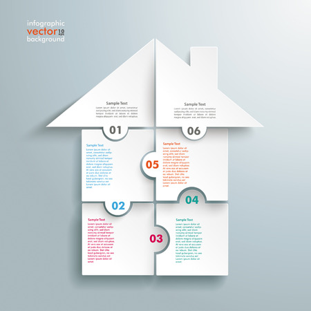 Infographic with rectangle puzzle pieces on the grey background.  Vettoriali