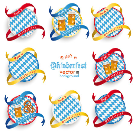 Oktoberfest design on the white background. German text O�zapft is and Oktoberfest, translate on tap and Oktoberfest.  Vector