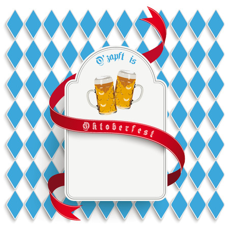 "Oktoberfest design on the white background. German text ""O´zapft is"" and ""Oktoberfest"", translate ""on tap"" and ""Oktoberfest""."