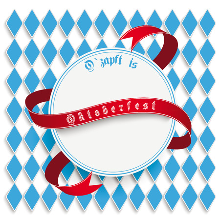 lozenge: Oktoberfest design on the white background. German text O´zapft is and Oktoberfest, translate on tap and Oktoberfest.  Illustration