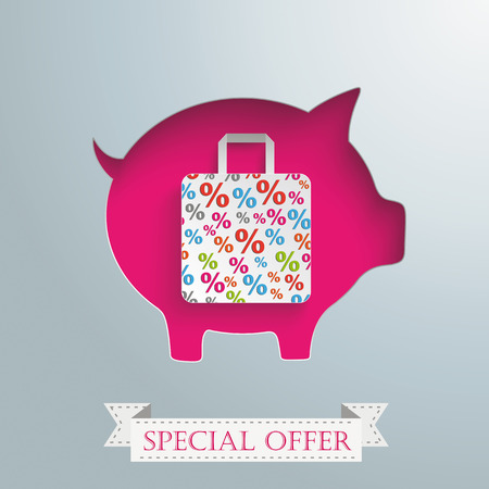 fonds: Vintage background design with piggy bank and shopping bag.