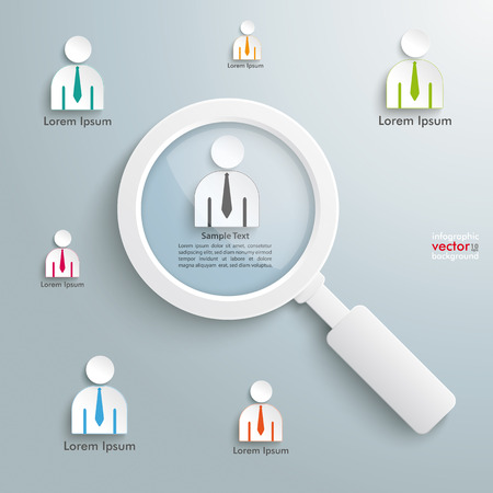 headhunter: Businessmen with loupe on the grey background.