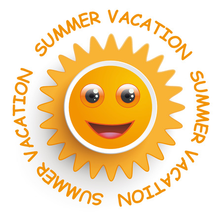 Smiling sun with text summer vacation on the white background. Vector