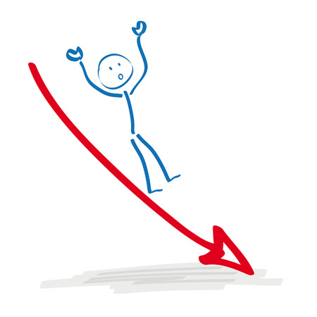 bourse: Stickman on declining arrow on the white background.