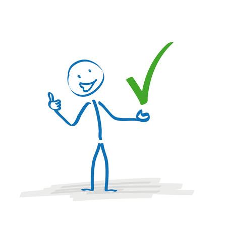 Stickman with with green tick on the white background.  Ilustração