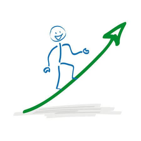 bourse: Stickman on the ascending arrow on the white background.