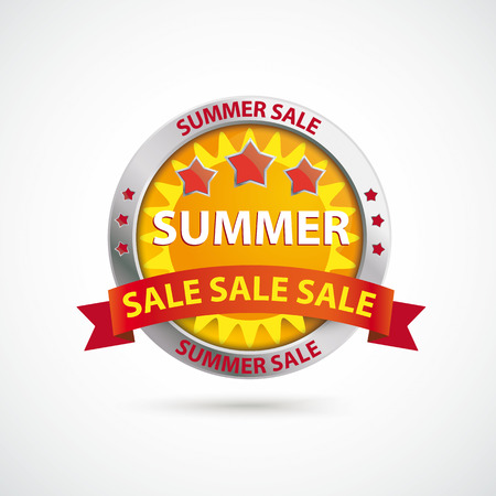 onlineshop: Infographic with protection shield and text Summer Sale on the white background.