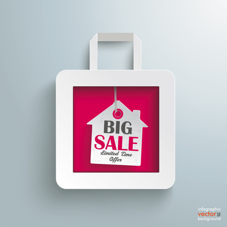 White paper shopping bag with house on the grey background.  Vector