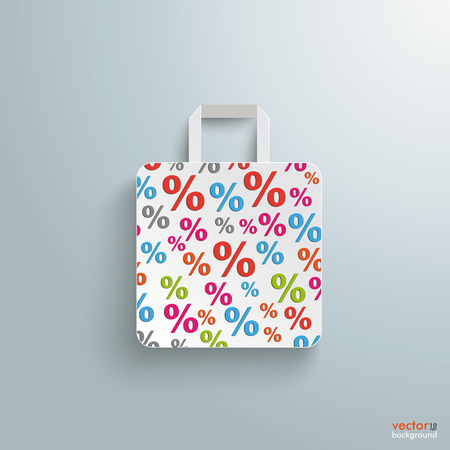 reklame: White paper shopping bag on the grey background. Illustration