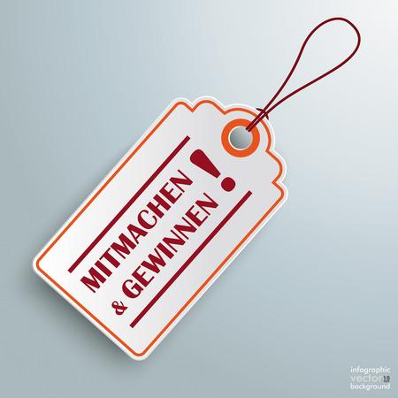 sweepstake: White price sticker on the grey background. German text Mitmachen und Gewinnen, translate join in and winning.