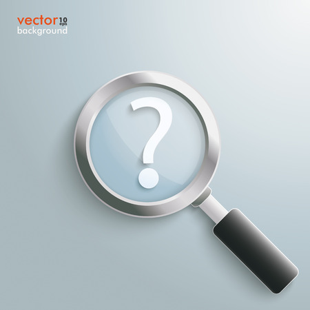 glas 3d: White question mark with loupe on the grey background.  Illustration