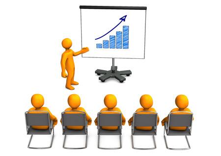 Weiß-Comic-Figuren sitzen in einem Vortrag. Weißen Hintergrund. Standard-Bild